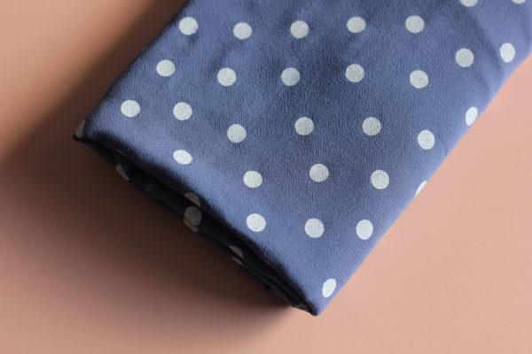Tissu viscose à pois - Dancing polka ardoise - Lise Tailor
