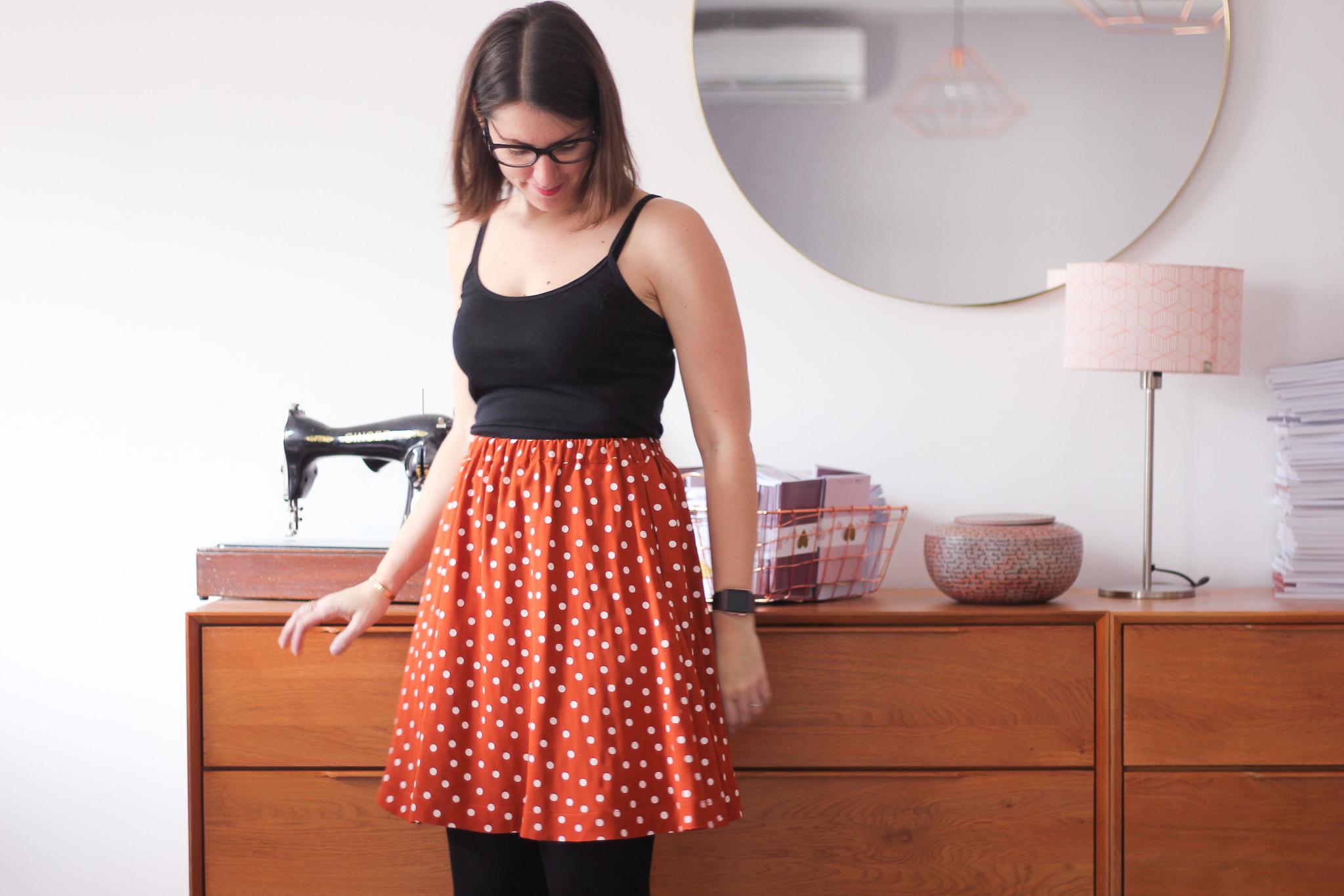 Jupe Bonjour - Atelier Scammit - Tissu Dancing Polka - Lise Tailor