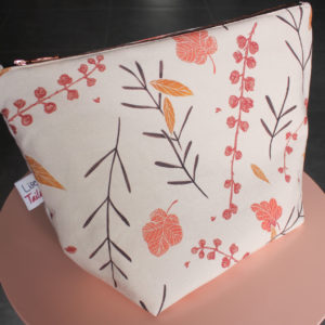 Kit de couture pochette zippée - Falling flowers rose - Lise Tailor